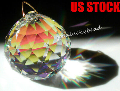 5 Feng Shui Clear Glass Crystal Waterdrop Ball Lamp Sphere Prism Suncatcher 20MM