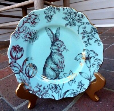 New 222 Fifth Easter Bunny Hill Turquoise Gold Garden China Salad Dessert Plate