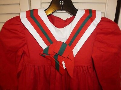 VINTAGE MONDAY'S CHILD GIRLS RED/ GREEN/ WHITE LONG SLEEVED CHRISTMAS DRESS sz 4
