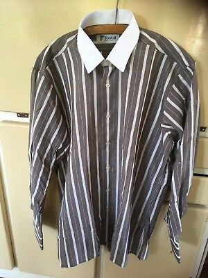 Vintage Mens Tootal Brown & White Striped Long Sleeve Shirt Neck 16in 41 cm NEW