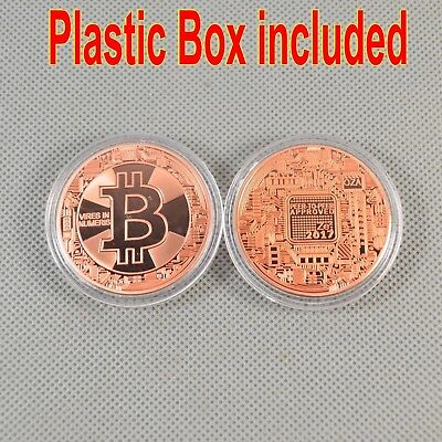 1Pcs Solid Copper Commemorative Bitcoin Collectible Golden Iron Miner Coin