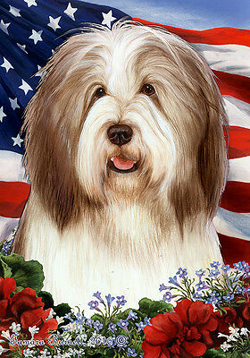 Large Indoor/Outdoor Patriotic I Flag - Brown & White Bearded Collie 16482