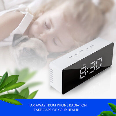 Modern Mirror Digital LED Snooze Alarm Clock Time Temperature Night Mode Quality