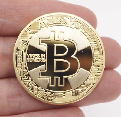 Hot 2018 Bitcoin Physical Collectible Coin BTC Gold Plated 1 Ounce 40mm