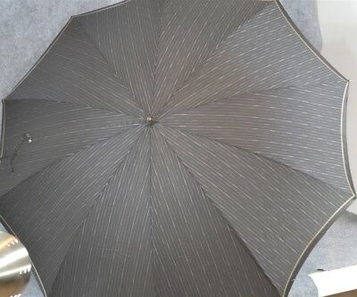 parasol umbrella black stripe antler handle Edwardian antique original 1910