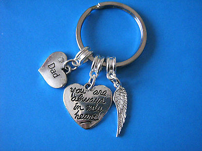 In Memory of Dad Keyring Bereavement Gift Heart Charm Dad Angel Wing Charm