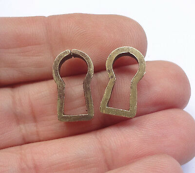 Pair 2 Vintage Solid Brass Insert Keyhole Covers Escutcheons #