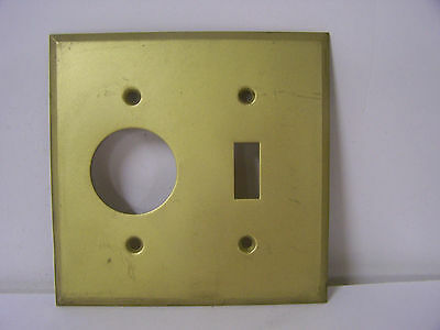 Vintage Brass Combo Cover Plate Single Round Hole Outlet and Switch Dull Brass