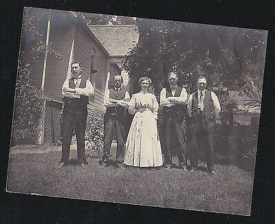Old Antique Vintage Photograph Woman With Four Men Standing on Front Lawn