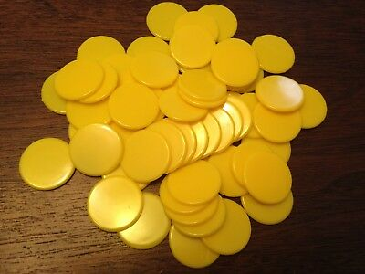 22mm Opaque Plastic Board Game Counters Tiddly winks Numeracy :- Yellow