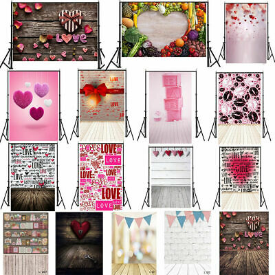 US 5x7ft Valentine's Photography Background Love Heart Wedding Photos Prop Party
