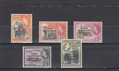 a102 - GHANA - SG177-181 MNH 1957 OVPT INDEPENDENCE HIGH VALUES 6d - 10/-