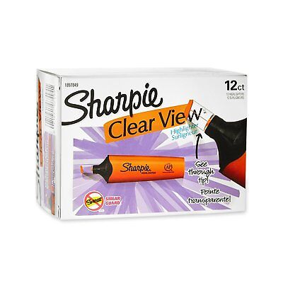 Sharpie Clear View Highlighter, Chisel Tip, Orange, Pack of 12