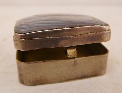 Vintage Mexico City Sterling Silver Carved Natural Shell Trinket Travel Pill Box