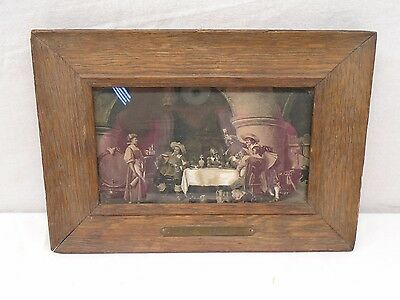 Antique Wood Frame Square Nails  Black and White Photo  Brass Plate Wine Vaults