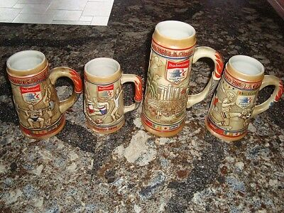 Budweiser 1984 Olympic Post Convention 4 Stein Set – Free Shipping