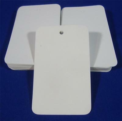 "100 White Unstrung Blank Garment Merchandise Price Tags Large 1 3/4 w x 2 7/8"" h"