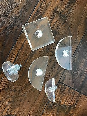 Vintage Set Lucite Drawer Pulls Mid Century Modern Square Circle Semi