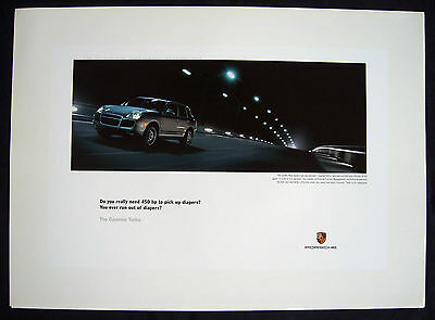 "Porsche Official Cayenne Turbo "" Diapers "" Showroom Poster 2003 Large Usa"