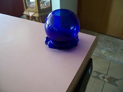 Cobalt blue rose bowl and underplate