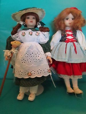 """Lot of 2 PORCELAIN Dolls Red Hair Hats Purse Rabbit Staff Stands 15"""""""