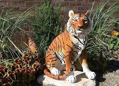 "20""Tall Orange Bengal Tiger Raja Sitting On Guard Decorative Garden Statue"