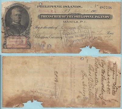 1907 Philippine Islands Treasury Check ~ Gen. Lawton ~ 66.66P