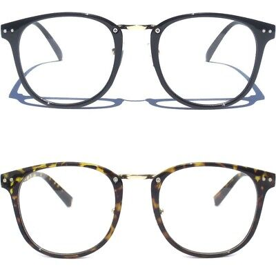 Metal Bridge Retro Vintage Style Clear Lens Glasses Hipster Cool Nerd Large