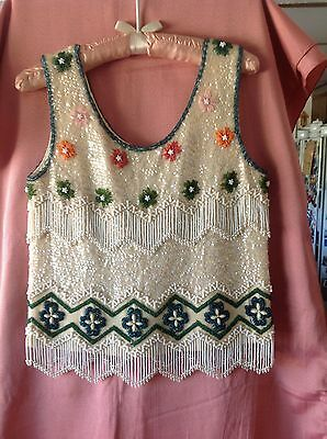 Vtg. 1950s Sequin Beads Pearl Embellished Tank Top Sweater