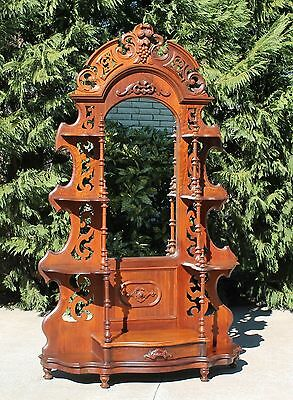 Fancy Victorian Pierced Carved Walnut Etagere Carved Fruits & Nuts Circa 1870's
