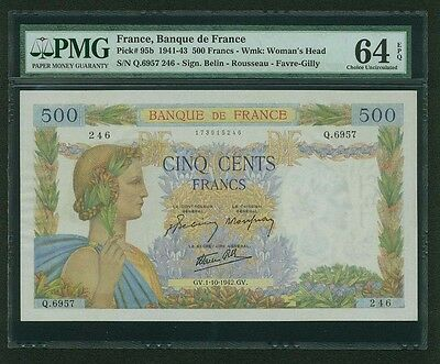 "France  1942  500 Francs Banknote, Pmg Certified ""choice Uncirculated-64-Epq"""