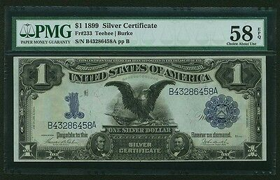 """1899 $1 Silver Certificate """"black Eagle"""", About Uncirculated, Certified Pmg58"""