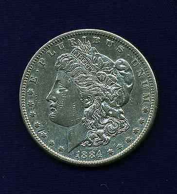 U.s.  1884-S  Morgan Silver Dollar, Almost Uncirculated!