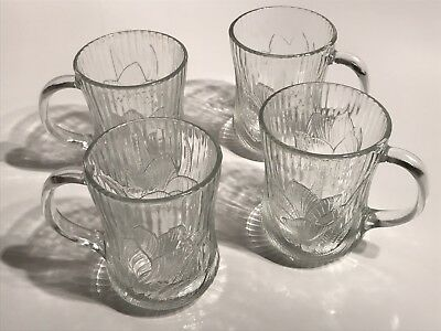 Arcoroc Canterbury Embossed Crocus Clear Glass SET OF 4 Coffee Cups Mugs Glasses