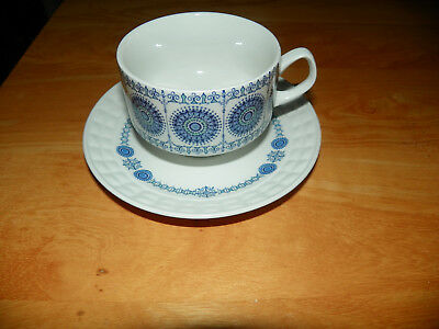 Pontesa Ironstone Teacup & Saucer Made in Spain White w/ Blue Pattern *SALE*