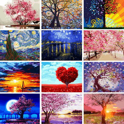 DIY Street Scenery Acrylic Paint By Number Kit Oil Painting Wall Decor On Linen