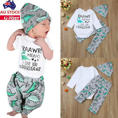3PCS Newborn Baby Boys Girls Dinosaur Shirt+Long Pants+Hat Outfits Clothes Set