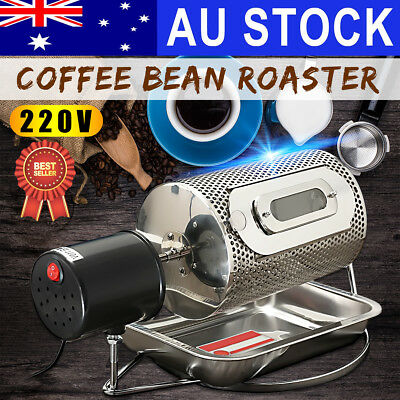 220V Electric Coffee Bean Roaster Nut Baking Roasting Home Kitchen Machine +Tray