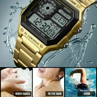 SKMEI Men's Waterproof Stainless Steel Sport Alarm Analog Digital Wrist Watch
