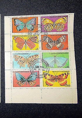 EQUATORIAL GUINEA Set of 8 BUTTERFLY stamps - franked 1st June 1976 Malaco