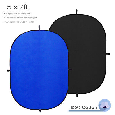"5x7"" Blue + Black Collapsible Background Reflector Pop Out Photography Two Sided"