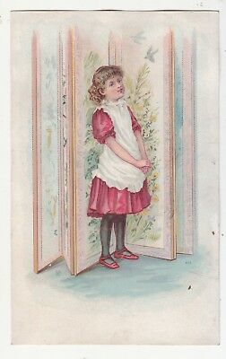 Girl in Red Dress White Pinafore Standing Panels No Advertising Vict Card c1880s