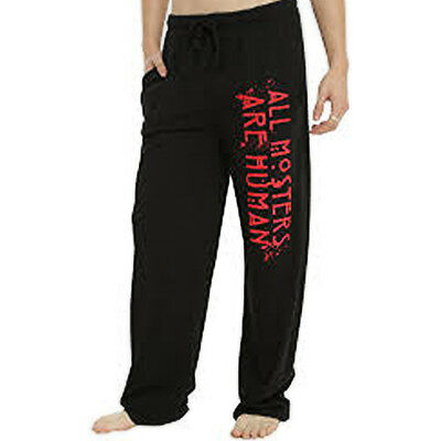 Mens Womens NEW All Monsters are Human Black Pajama Lounge Pants Defect