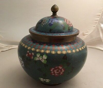 Large Japanese Enamel Brass Cloisonné Tobacco Jar & Cover