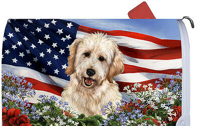 Patriotic Mail Box Cover - Goldendoodle 09268
