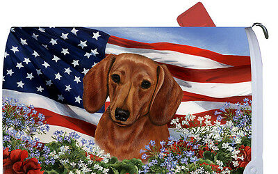 Patriotic Mail Box Cover - Red Dachshund 09039
