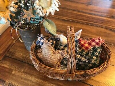 New Plaid Ornies Bowl Fillers Rag PrImITive Stars Mix Red Green Blue Farmhouse