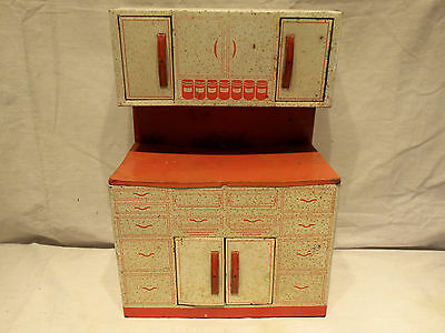 Vintage 1950s Wolverine Tin Litho Red & White Kitchen Cabinet Child Toy Playset