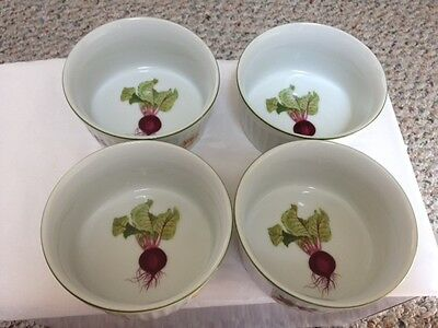 Set Of 4 Vegetable Garden By Andrea 8 Oz Ramekins Oven To Table Cookware 5554