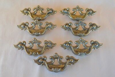 7 VTG Brass Hanging Drawer Pulls Drop Handles #3675-1 Screw Hole Width 2 1/2""